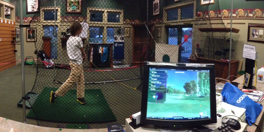 jr golf student practicing indoors